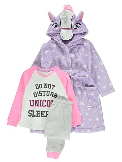3 Piece Unicorn Print Pyjamas and Dressing Gown Set   Kids   George