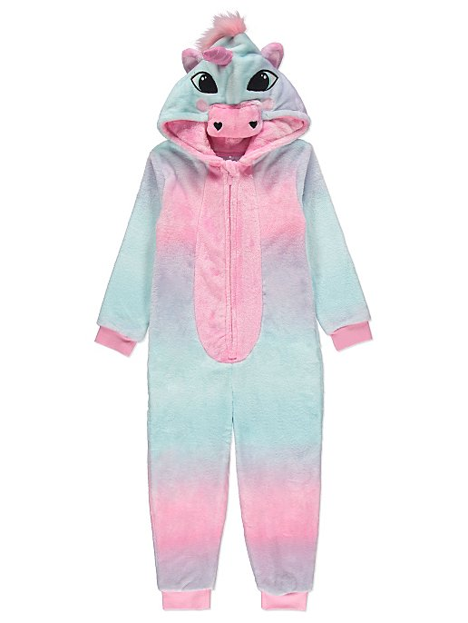 bcc4cd806d0d Pink Unicorn Hooded Fleece Onesie