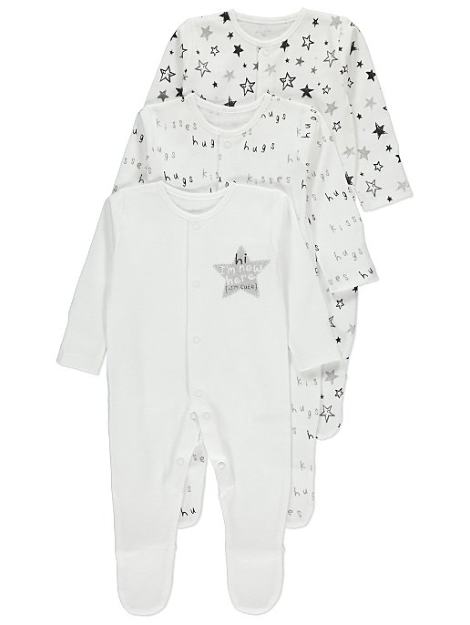 834f62d4e White Assorted Long-Sleeved Sleepsuits 3 Pack