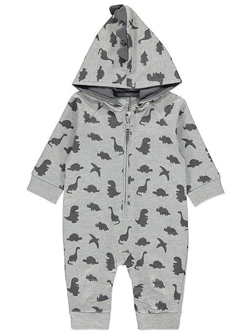 6e6fc4e7075f Grey Dinosaur Print Hooded All in One
