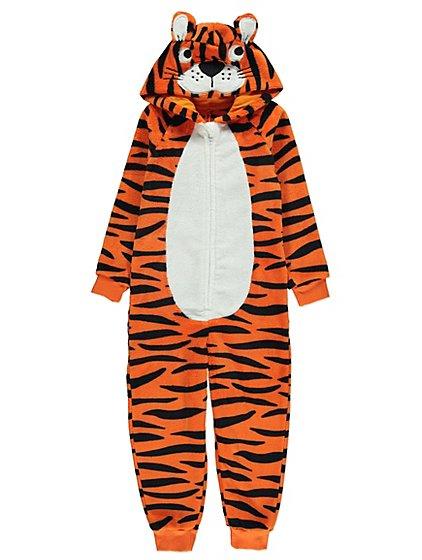 tiger hooded fleece onesie kids george - Christmas Vacation Onesie