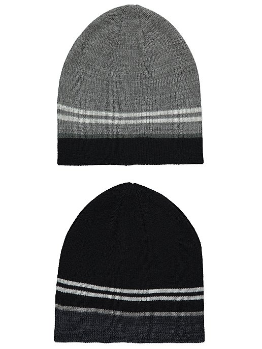 Black Ribbed Beanie Hats 2 Pack. Reset c9c3d04f3ec