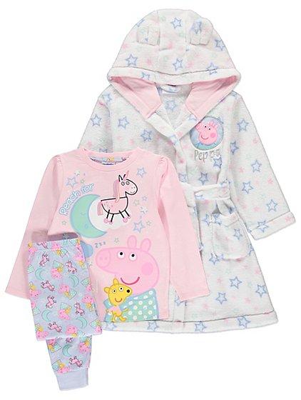 Peppa Pig Pyjamas and Dressing Gown Set   Kids   George