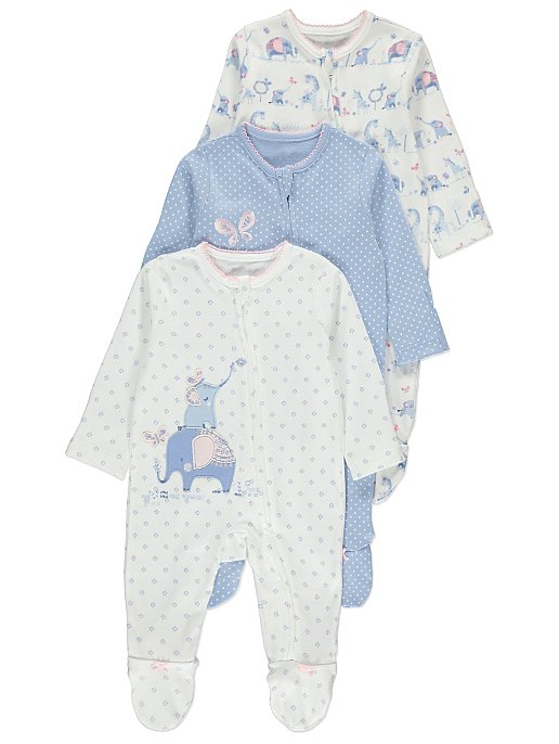 384703a6051dd Floral Elephant Zip Sleepsuits 3 Pack