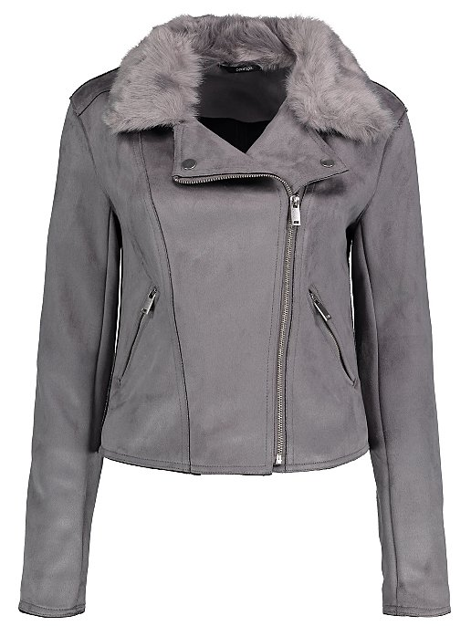 ef2f2e91a3ec2 Grey Faux Suede Detachable Faux Fur Trim Biker Jacket