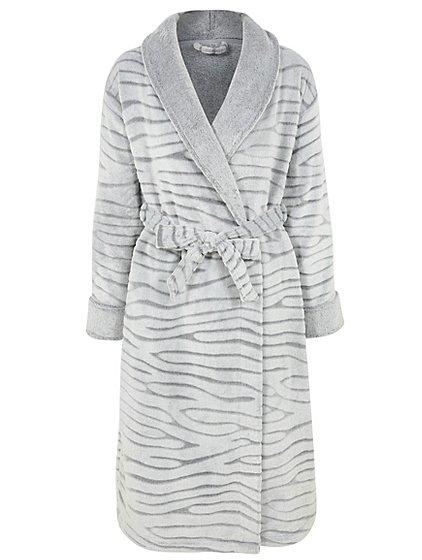 Grey Carved Animal Stripe Fleece Dressing Gown | Women | George