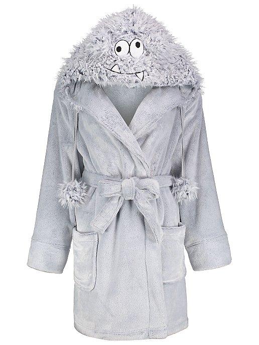3426544189 Grey Faux Fur Monster Face Short Dressing Gown