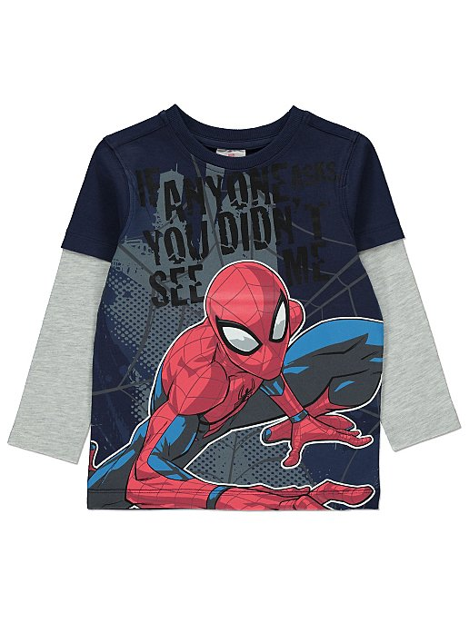 388fcf47 Navy Marvel Spider-Man Long-Sleeved T-shirt | Kids | George