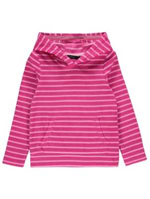 Pink Striped Fleece Hoodie