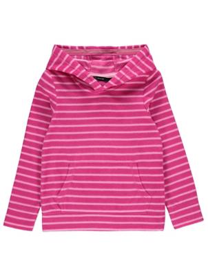 Pink Striped Fleece Hoodie