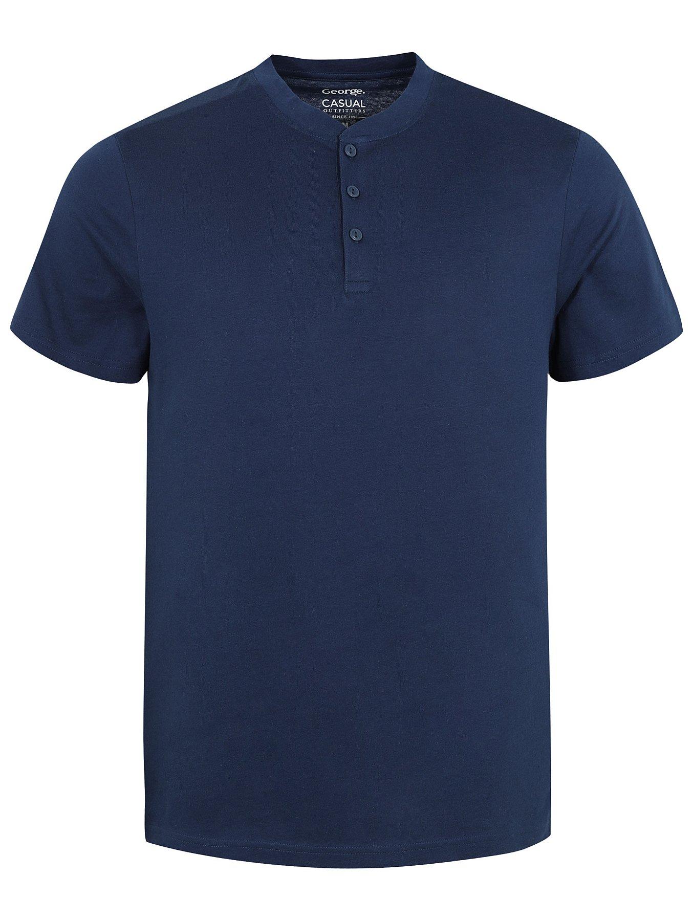 b184e808 Navy Grandad Collar T-Shirt | Men | George