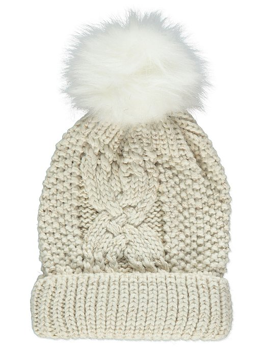 Cream Shimmering Cable Knit Bobble Hat. Reset e08d81aa6f2