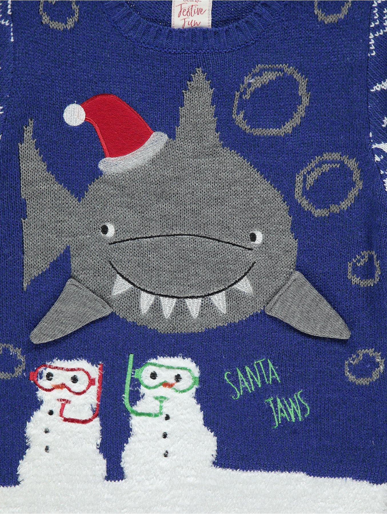 01f1a0165c21 Blue Shark Snow Scene Christmas Jumper
