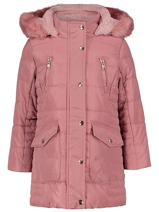 ec6adc7bd Pink Shower Resistant Hooded Longline Parka