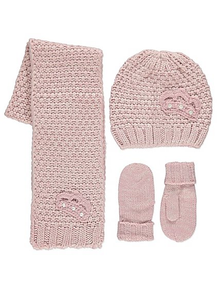 Pink Knitted Crown Hat Sacrf And Gloves Set Kids George