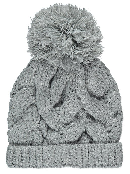 ae7235ac9b0 Grey Cable Knit Bobble Hat. Reset