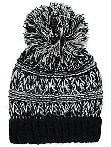 Black Chunky Knit Fleece Lined Bobble Hat d232f3762e1c