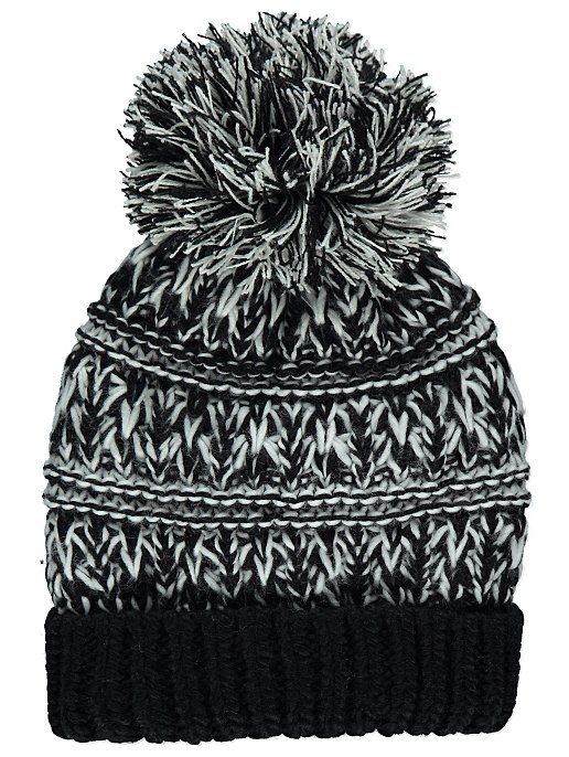 Black Chunky Knit Fleece Lined Bobble Hat. Reset 1e4d0bcfc9e4