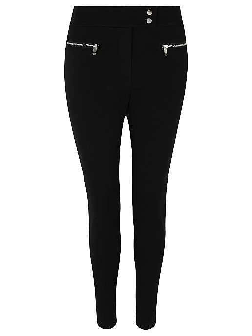 50% price look out for exceptional range of styles and colors Black Tapered Ponte Zip Detail Smart Trousers