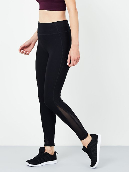 aeab955f8 Black Active Wear Mesh Panel Leggings