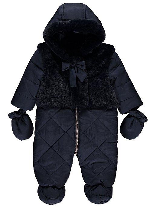 0892b267669e Navy Faux Fur Trim Padded Snowsuit