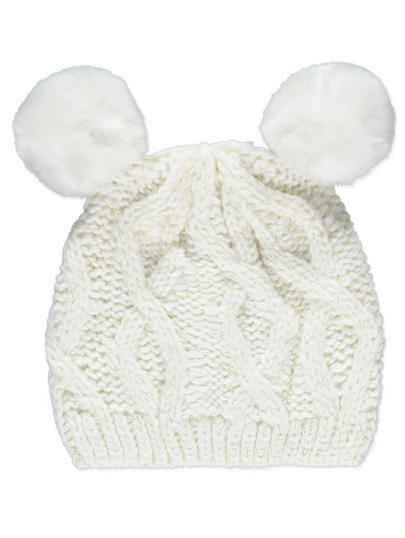 Cream Faux Fur Double Pom-Pom Bobble Hat  bf3dc58434a1