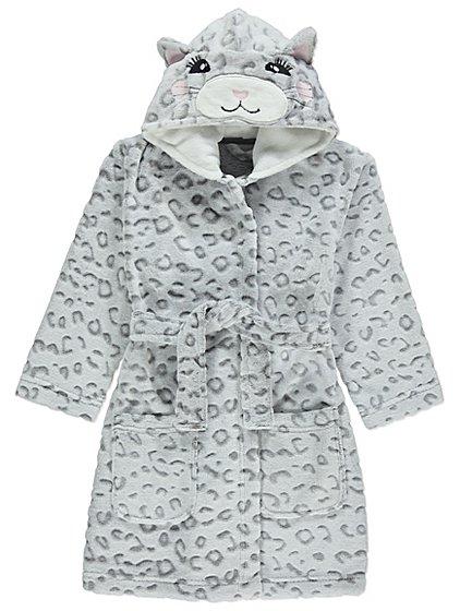 Grey Cat Fleece Dressing Gown | Kids | George