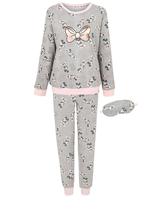 d649d28df7 Disney Minnie and Mickey Mouse Pyjamas and Eye Mask Set