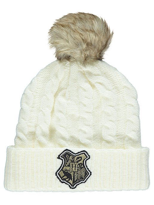 Harry Potter Hogwarts Cream Bobble Hat  a7aa81e64db