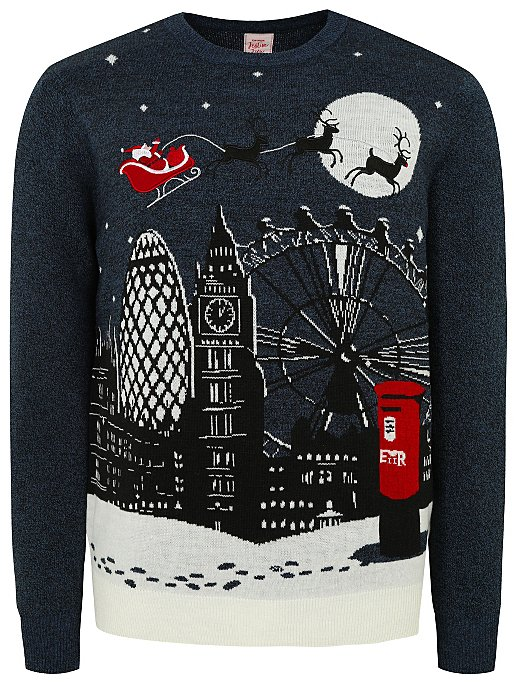 provide large selection of modern style buy cheap Navy London Scene Christmas Jumper