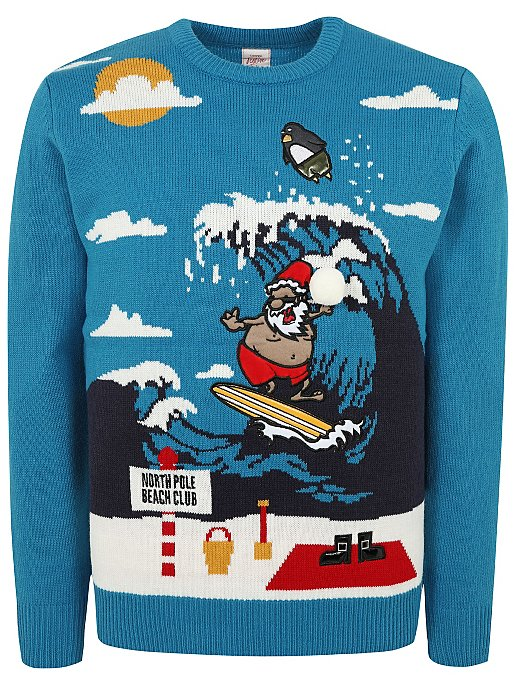 Blue Santa Claus On Holiday Christmas Jumper