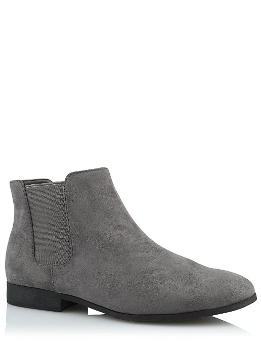 6b9d97c71e9 Grey Wide Fit Faux Suede Chelsea Boots