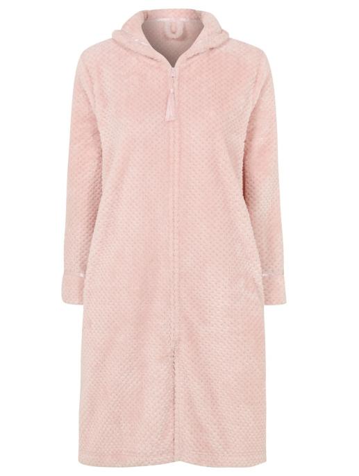 Pink Fleece Zip Up Dressing Gown Women George