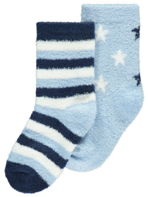 Blue Fleece Socks 2 Pack