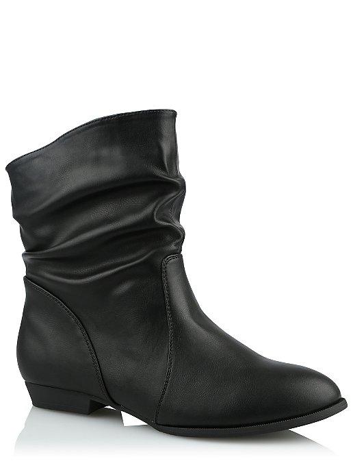 62deb1fe6c808 Black Faux Leather Ankle Boots. Reset