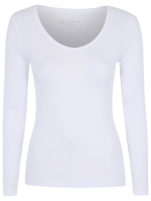 10ae4e9f112629 White Scoop Neck Long Sleeve Top. Reset