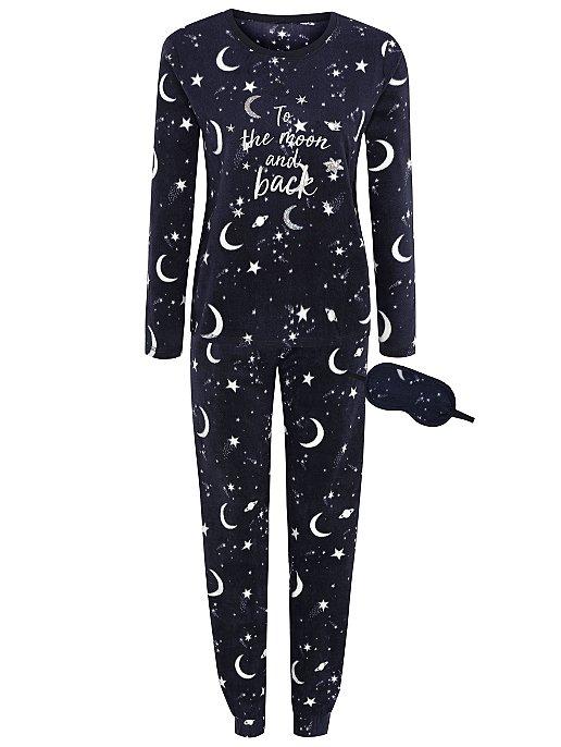 05186c8dfe Navy Star Fleece Pyjamas and Eye Mask Gift Set
