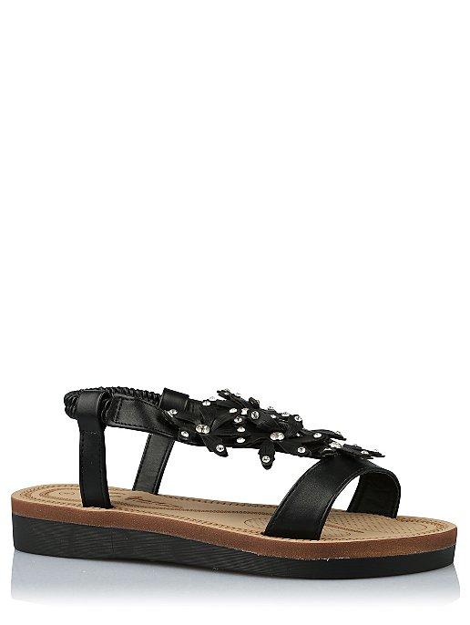 9d5cbbe0b877b0 Black Embellished Floral Sandals