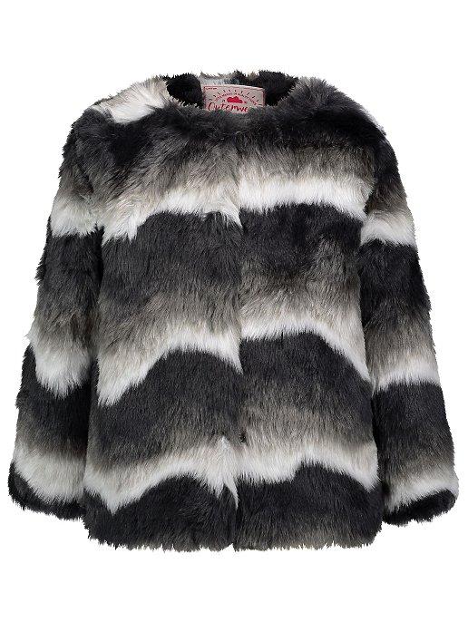 b6b23131e2b0 Striped Faux Fur Coat | Kids | George