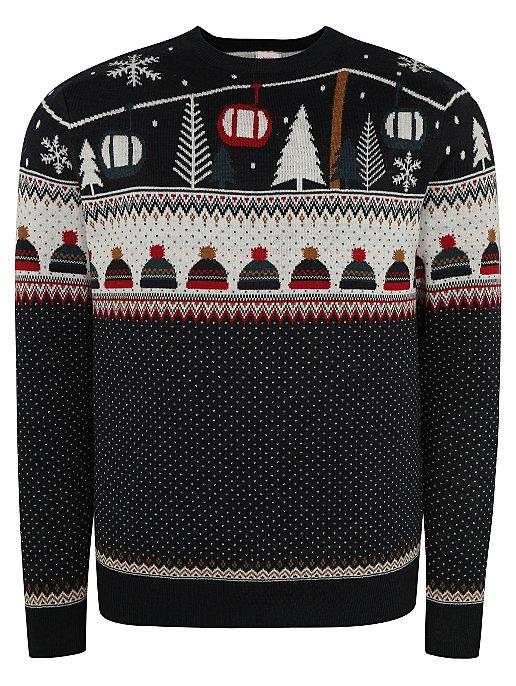 Navy Fairisle Knitted Christmas Jumper