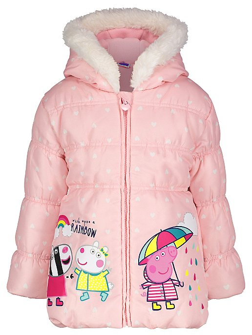 694d25b09 Peppa Pig Pink Shower Resistant Padded Coat