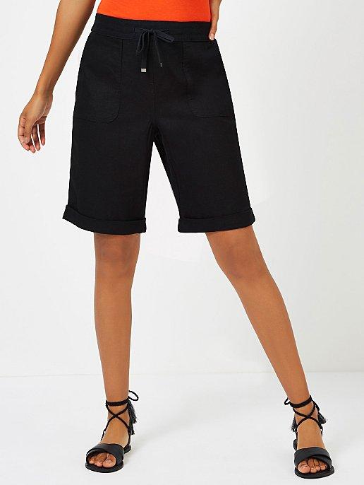 afcd6e616 Black Linen Blend Knee Length Shorts   Women   George