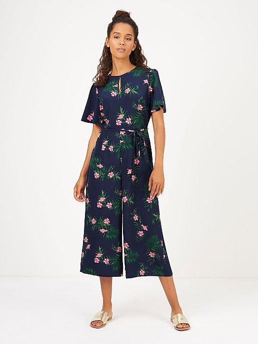 e2c934c9825d Navy Blue Floral Print Culotte Jumpsuit