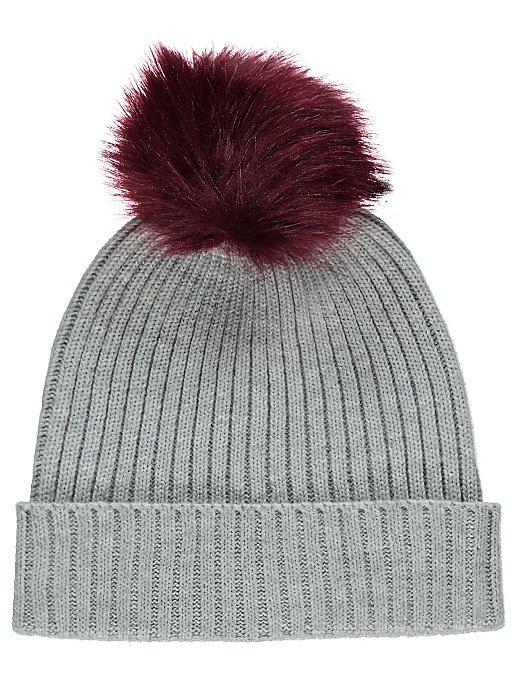 Grey Rib Knit Faux-Fur Bobble Hat  62b4d40c502