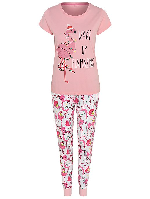9deffd05a Pink Flamingo Adult Mini Me Christmas Pyjamas