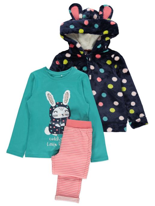 Navy Polka Dot Zip Up Dressing Gown And Pyjamas Set Kids George