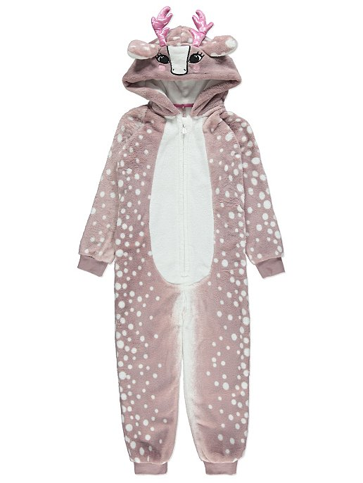 e230d44d3fb4 Dusty Pink Deer Fleece Onesie