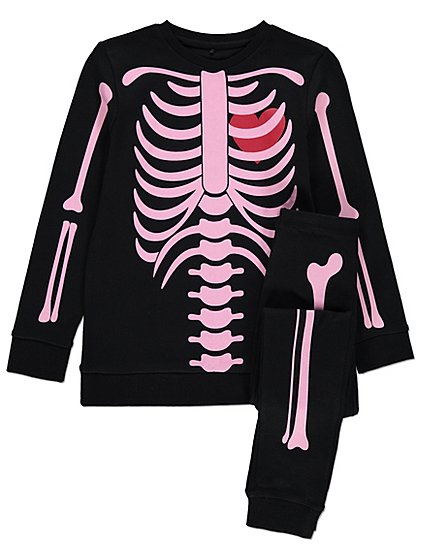 halloween glow in the dark skeleton pyjamas kids george