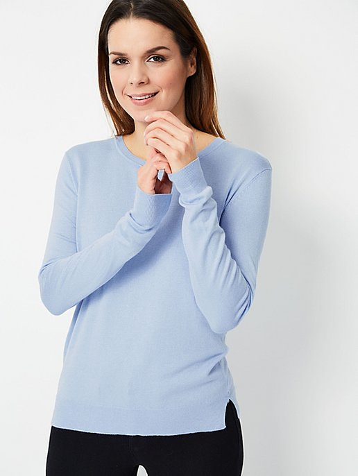 0b1536b665df Light Blue Crew Neck Fine Knit Jumper   Women   George
