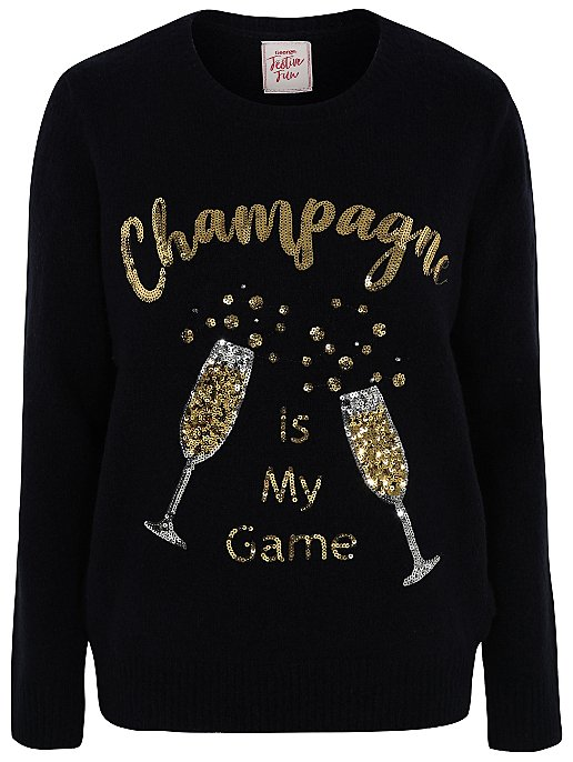 Official Website popular stores autumn shoes Navy Sequinned Champagne Light Up Christmas Jumper